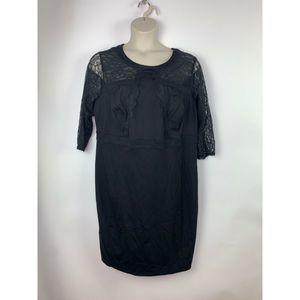 Lane Bryant Black Lace 3/4 Sleeve Sheath  Dress